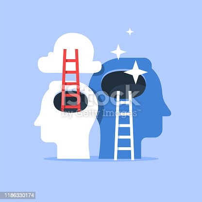 Human head and ladder, next level improvement, training and mentoring, pursuit of happiness, self esteem and confidence, vector flat illustration