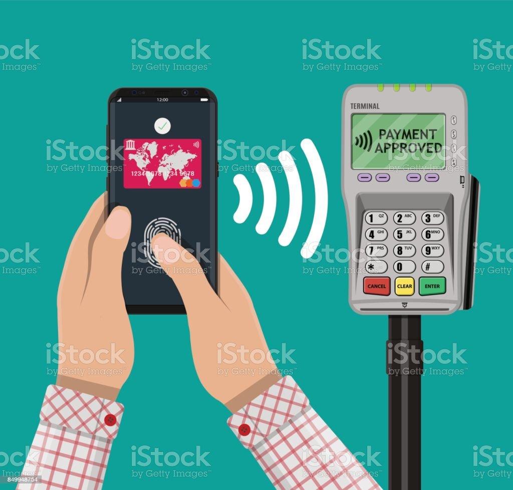 Nfc payment flat design style vector art illustration