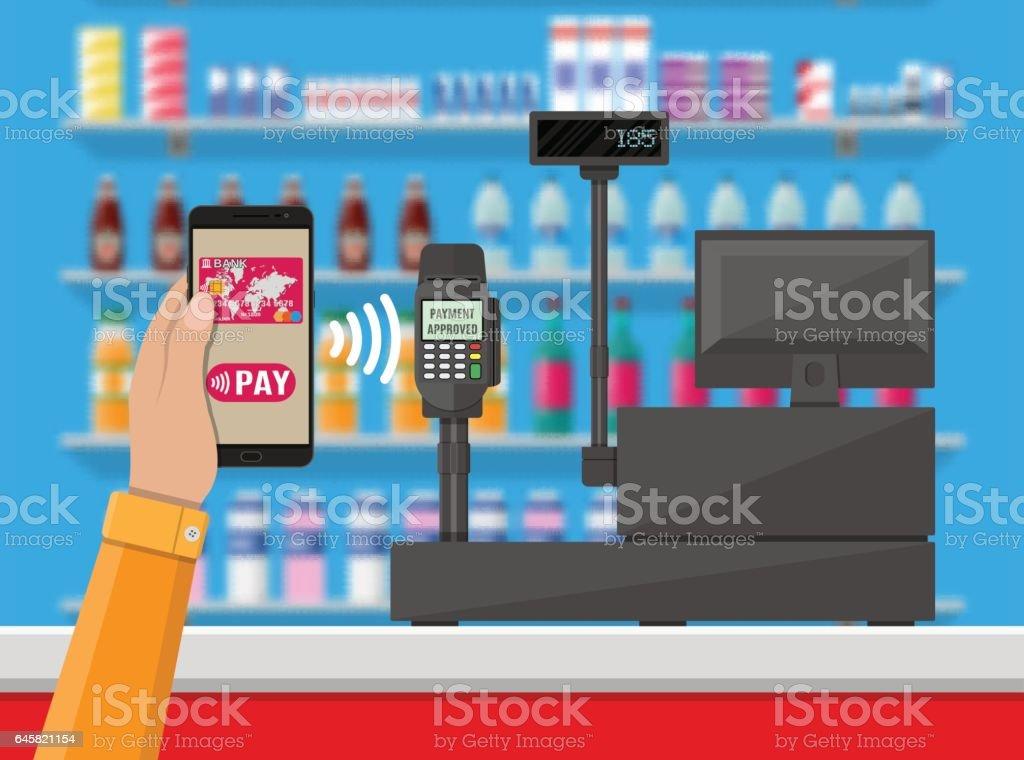 Nfc payment in supermarket vector art illustration