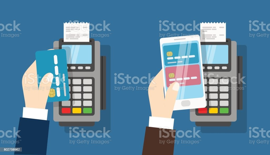 Nfc payment pos terminal. Wireless Payment - arte vettoriale royalty-free di Affari
