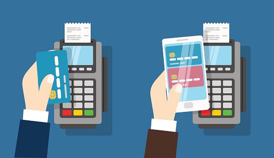Nfc Payment Pos Terminal Wireless Payment - Immagini vettoriali stock e altre immagini di Affari