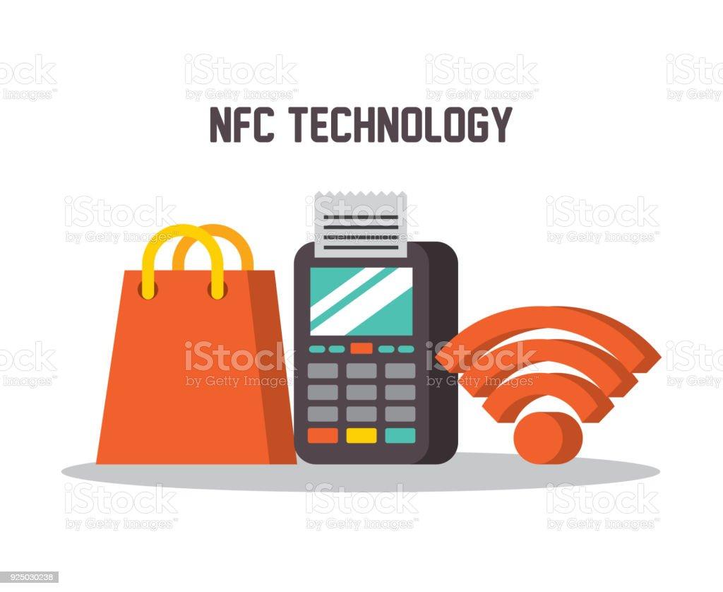 bc7517cd5373 regalo de tienda de NFC tecnología datáfono wifi ilustración de regalo de  tienda de nfc tecnología