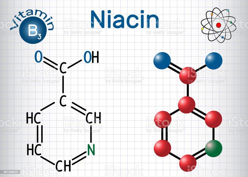 Ilustración De Molécula De Niacina Se Encuentra Una Vitamina