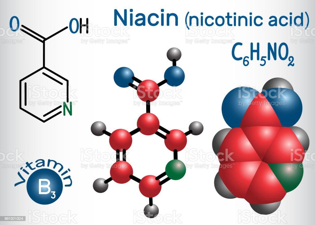 Ilustración De Molécula De Niacina Se Encuentra Una