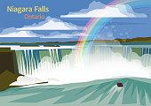 Niagara Falls, Canadian province of Ontario, vector illustration