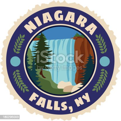 A vector Niagra Falls luggage label or travel sticker.