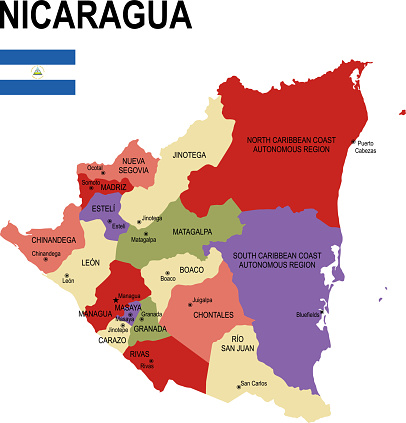 Nicaragua colorful flat map with flag