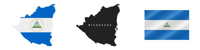 Nicaragua. Detailed flag map. Detailed silhouette. Waving flag. Vector illustration