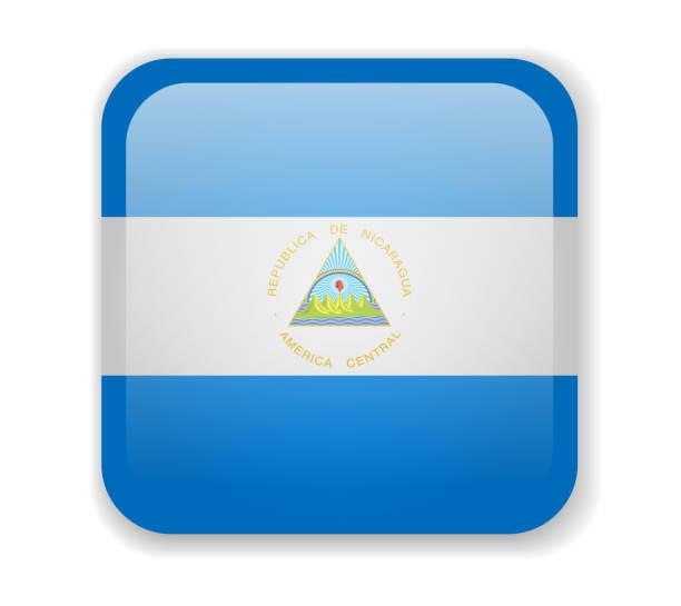 nicaragua flagge helle quadratische ikone auf weißem hintergrund - managua stock-grafiken, -clipart, -cartoons und -symbole
