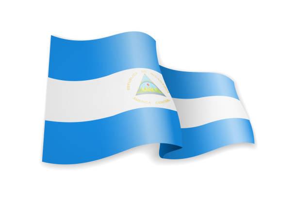 nicaragua flagge im wind. flagge auf weißer vektorabbildung - managua stock-grafiken, -clipart, -cartoons und -symbole