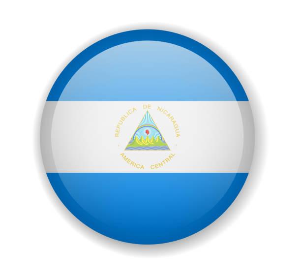 nicaragua-flagge rund helle ikone auf weißem hintergrund - managua stock-grafiken, -clipart, -cartoons und -symbole
