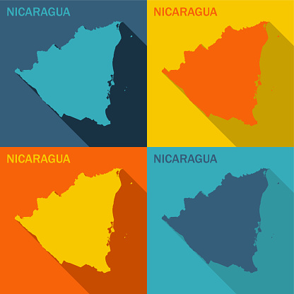 Nicaragua flat map available in four colors