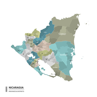 Nicaragua higt detailed map with subdivisions. Administrative map of Nicaragua with districts and cities name, colored by states and administrative districts. Vector illustration.