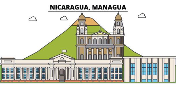 nicaragua, managua umriss skyline der stadt, lineare abbildung, banner, reisen, wahrzeichen, gebäude kontur, vektor - managua stock-grafiken, -clipart, -cartoons und -symbole