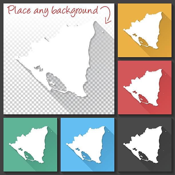 nicaragua map for design, long shadow, flat design - managua stock-grafiken, -clipart, -cartoons und -symbole