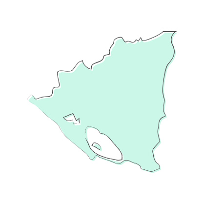 Nicaragua map hand drawn on white background - Trendy design