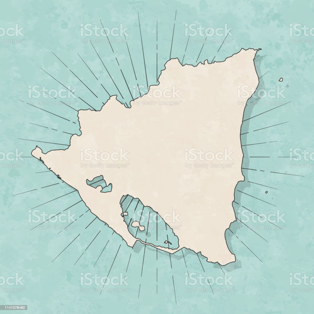 Map of Nicaragua in a trendy vintage style. Beautiful retro...