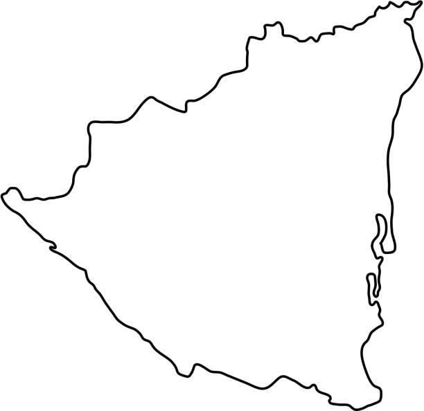 nicaragua karte des schwarzen konturkurven auf weißem hintergrund von vektor-illustration - managua stock-grafiken, -clipart, -cartoons und -symbole