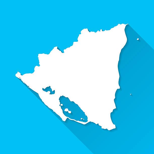 nicaragua-karte auf blauem hintergrund, lange schatten, flat-design - managua stock-grafiken, -clipart, -cartoons und -symbole