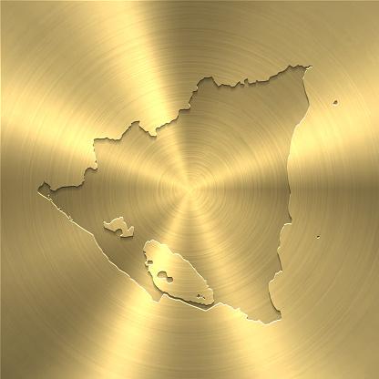 Nicaragua map on gold background - Circular brushed metal texture