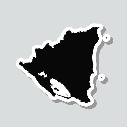 Nicaragua map sticker on gray background