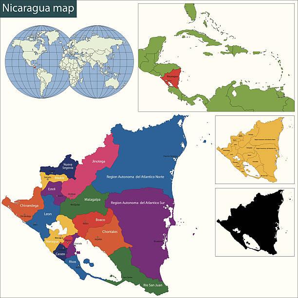 nicaragua karte - managua stock-grafiken, -clipart, -cartoons und -symbole