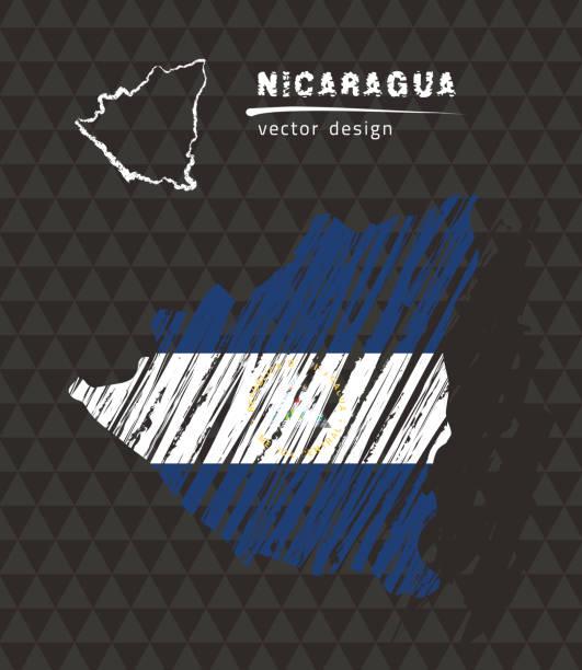 nicaragua karte mit fahne innen auf dem schwarzen hintergrund. kreide skizze-vektor-illustration - managua stock-grafiken, -clipart, -cartoons und -symbole