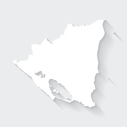 Nicaragua map with long shadow on blank background - Flat Design