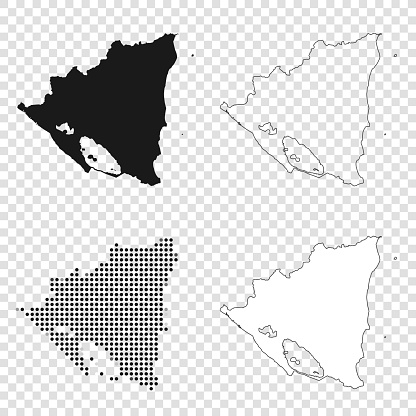 Nicaragua maps for design - Black, outline, mosaic and white