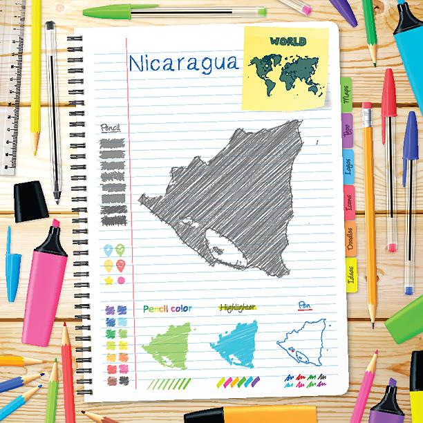 nicaragua karten handgezeichnet auf notebook. hölzerner hintergrund - managua stock-grafiken, -clipart, -cartoons und -symbole