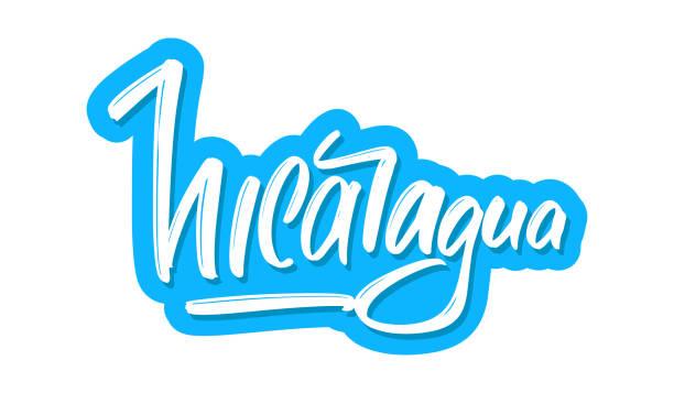 nicaragua moderne pinsel schriftzug text. vektor-illustrationslogo für print und werbung - managua stock-grafiken, -clipart, -cartoons und -symbole