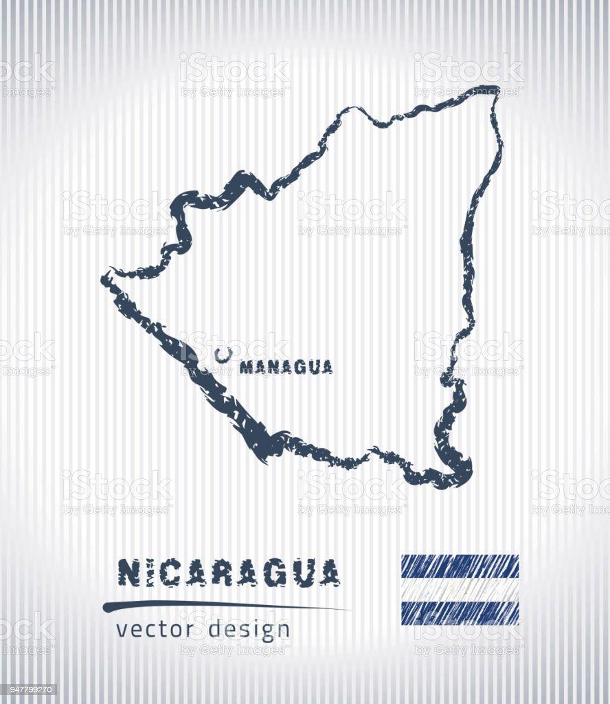 Nicaragua Nationalen Vektorzeichenprogramm Karte Auf Weißem ...
