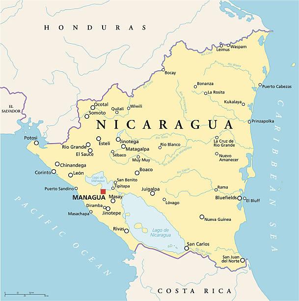 nicaragua politische karte - managua stock-grafiken, -clipart, -cartoons und -symbole