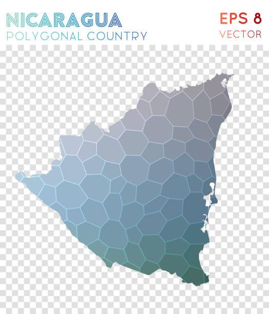 nicaragua polygonale karte, mosaik-stil land. - managua stock-grafiken, -clipart, -cartoons und -symbole