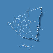 Nicaragua region map: blue with white outline and shadow on blue background.