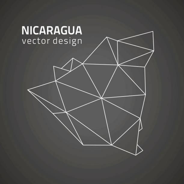 nicaragua vektorkarte schwarzen kontur perspektive dreieck - managua stock-grafiken, -clipart, -cartoons und -symbole