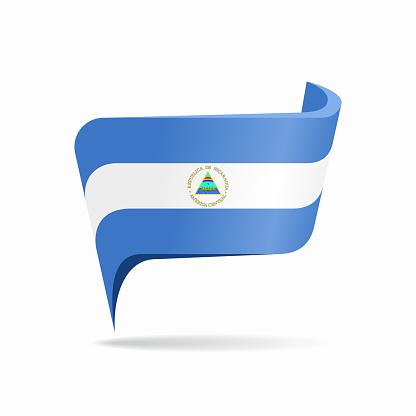 Nicaraguan flag map pointer layout. Vector illustration.