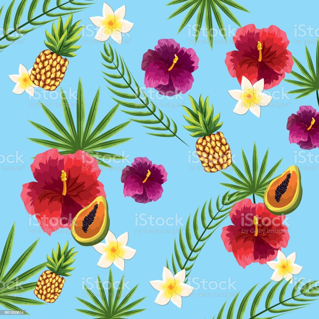 nice and exotic fruits, flowers, and plant background royalty-free nice and exotic fruits flowers and plant background stock vector art & more images of animal wildlife