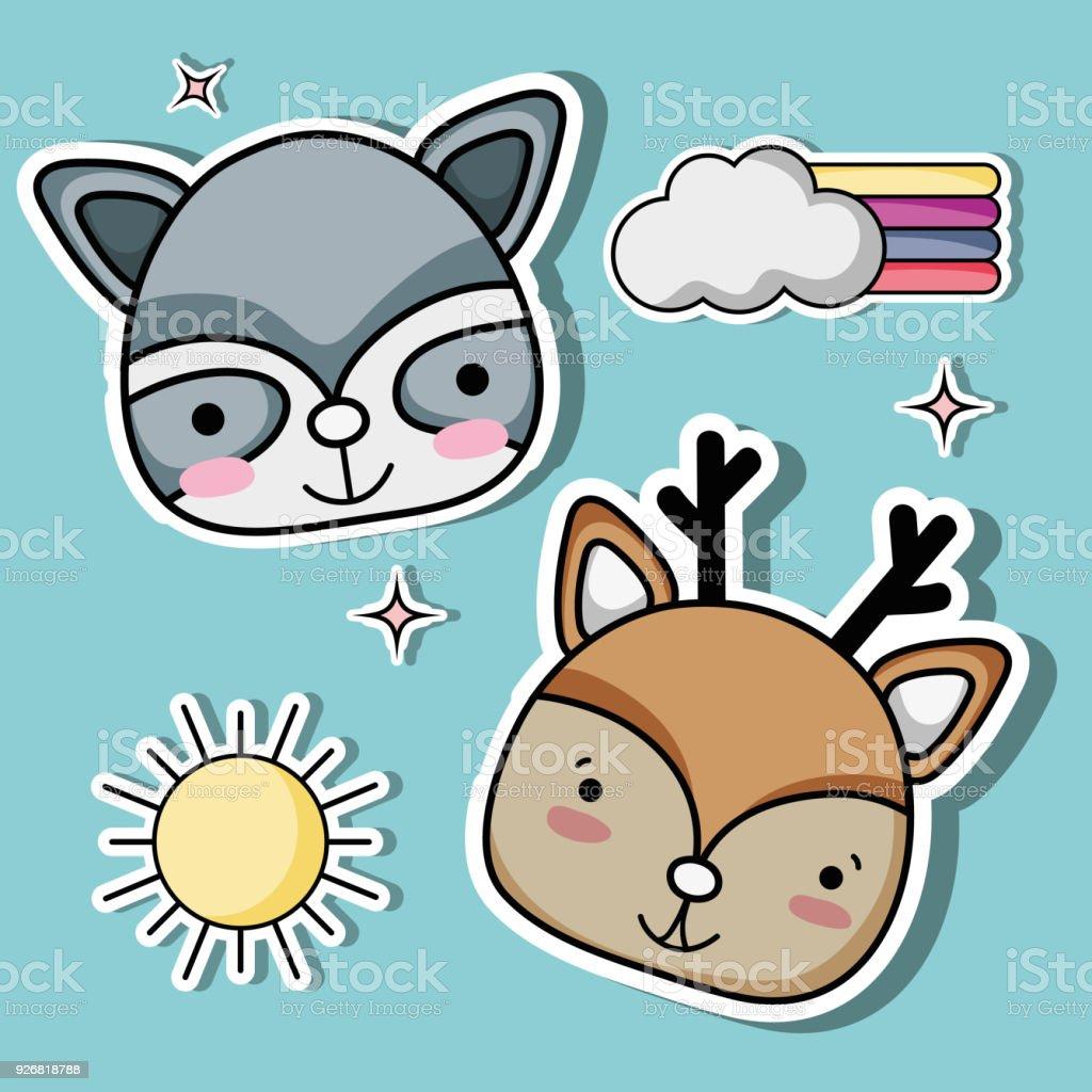 nice animals patches fashion design векторная иллюстрация