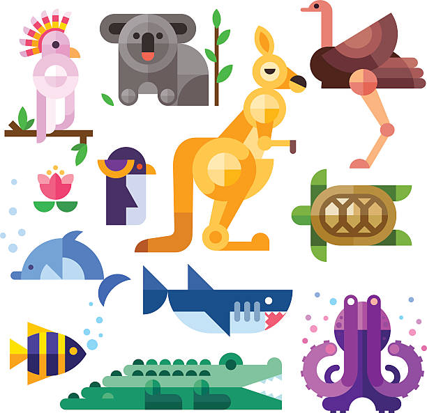 stockillustraties, clipart, cartoons en iconen met nice australian animals. - leatherback