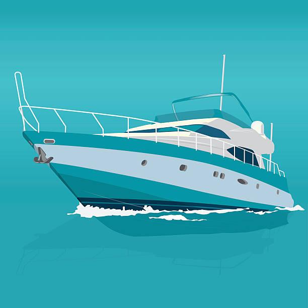 illustrations, cliparts, dessins animés et icônes de beau bleu de bateau sur la mer, la pêche sur un bateau. - voilier à moteur