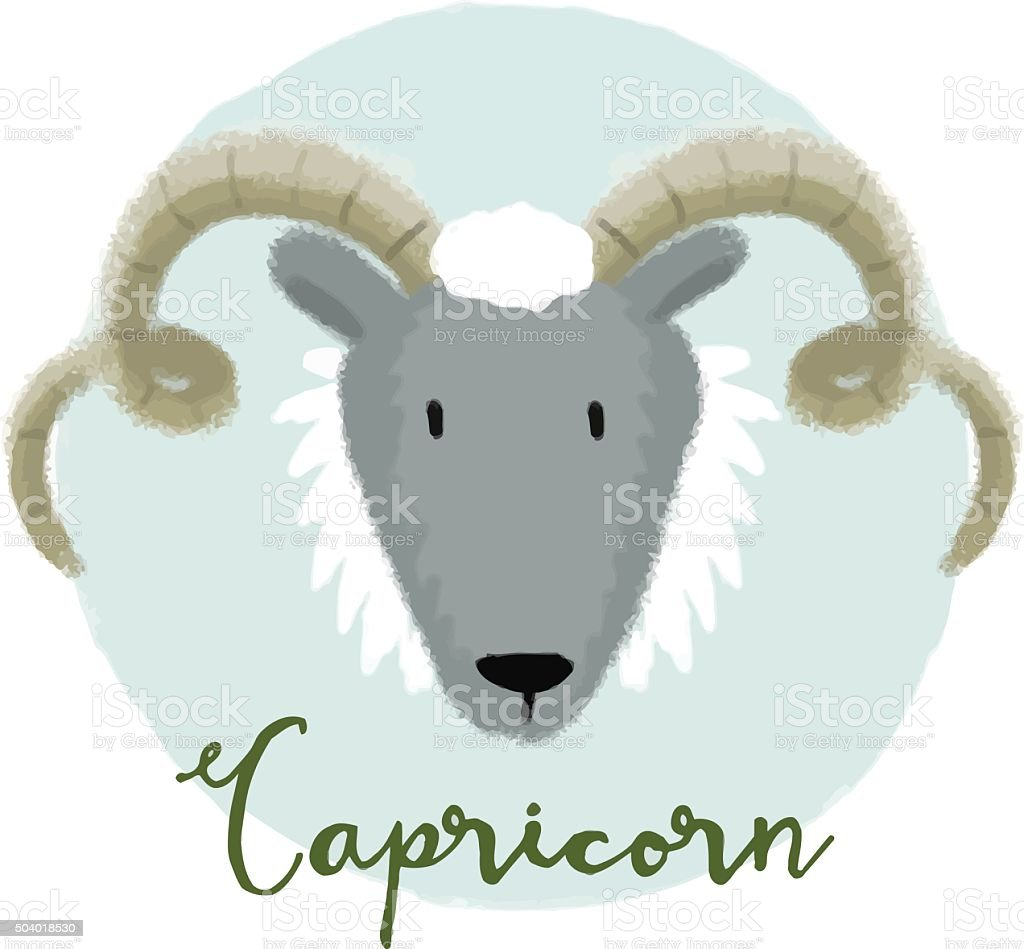 Nice capricorn horoscope sign vector art illustration