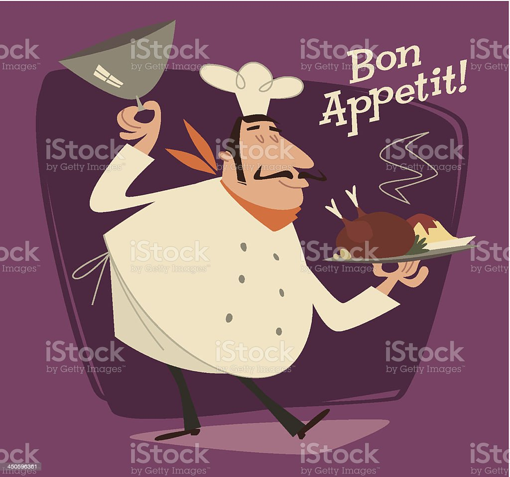 Nice Chef serving the dish. Retro style vector illustration royalty-free nice chef serving the dish retro style vector illustration stock vector art & more images of adult