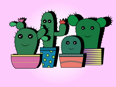 Nice composition of animated cactus on pink background. Textile