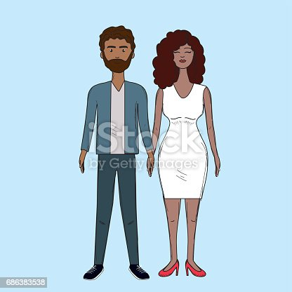 nice couple with hairstyle and elegant wear, vector illustration