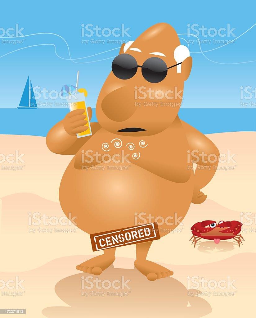 Nice Day at Nude Beach vector art illustration