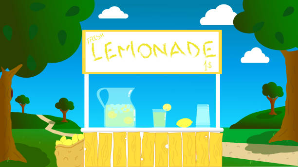 nice lemonade stand in a landscape surrounded by greenery on a summer day vector reproduction of a stand, made by children, in the open air for the sale of fresh lemonade during the summer lemonade stand stock illustrations
