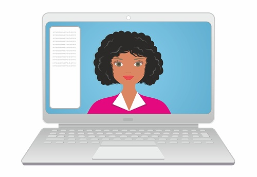 Nice looking woman, girl on computer screen, laptop with chat. Support, contact, presentation, conference video call, working from home, study from home. Vector illustration.