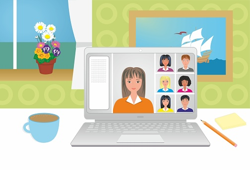 Nice looking women and men on computer screen, laptop with chat. Support, contact, presentation, conference video call, working from home, study from home. Vector illustration.