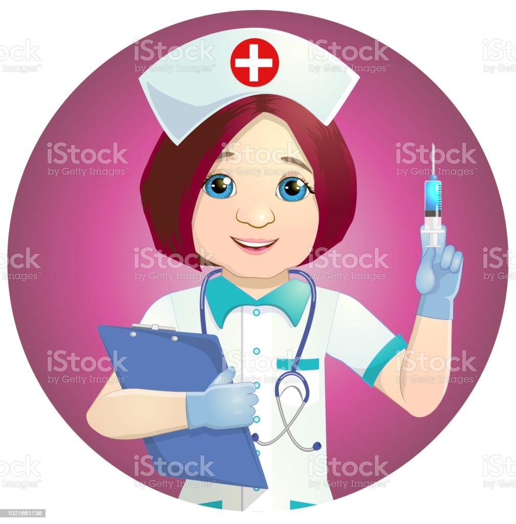 Nette Krankenschwester mit einer Spritze – Vektorgrafik
